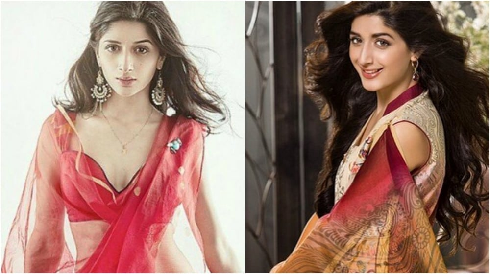 The much talked about shot of Mawra from a photo shoot with Paul Aiken Photography (L), and Mawra in an ad campaign for Mahiymaan lawn (R)