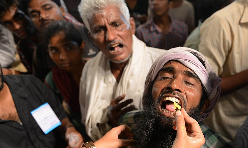 People come from all over India to try their luck with the live fish medicine.