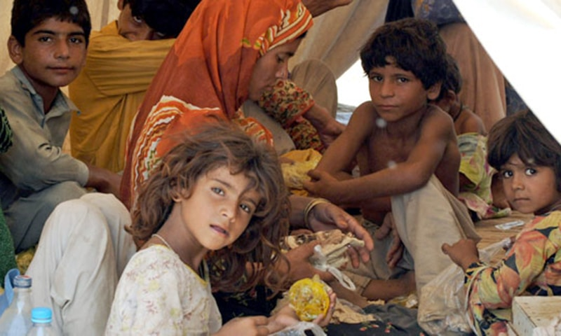 """""""Around eight million children in Pakistan, under the age of five years, are not meeting their development potential because of absolute poverty and malnutrition,"""" Minister of State for Federal Education and Professional Training Baligur Rehman said. —AP/File"""