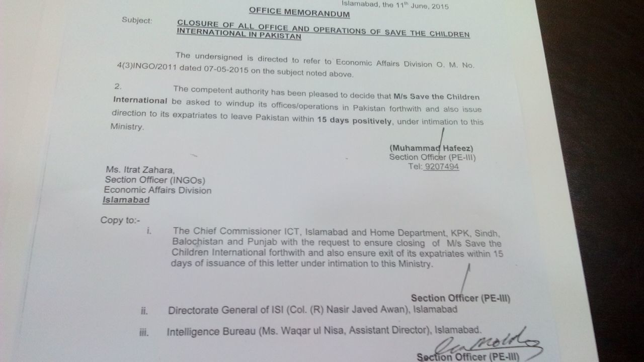 A copy of the government's order to seal 'Save the Children'.- DawnNews