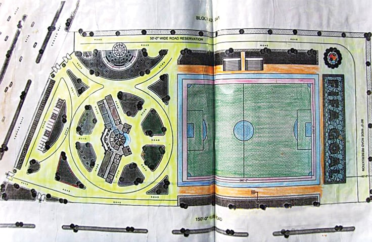 THE architectural plan of the Karachi Goal project.