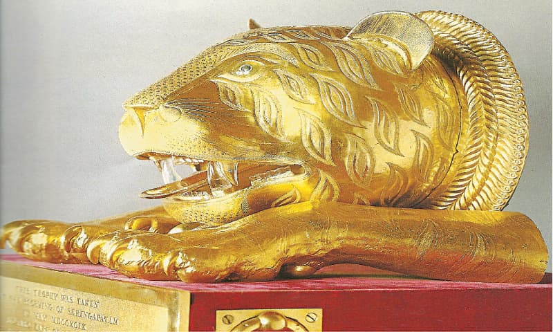 Tiger's head from the throne of Tipu Sultan