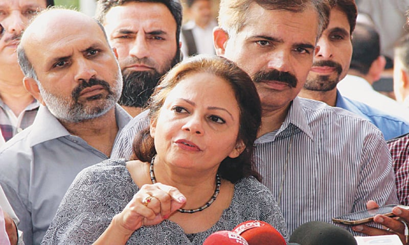 Punjab Finance Minister Dr Ayesha Ghous-Pasha talking to reporters after unveiling the provincial budget.—INP