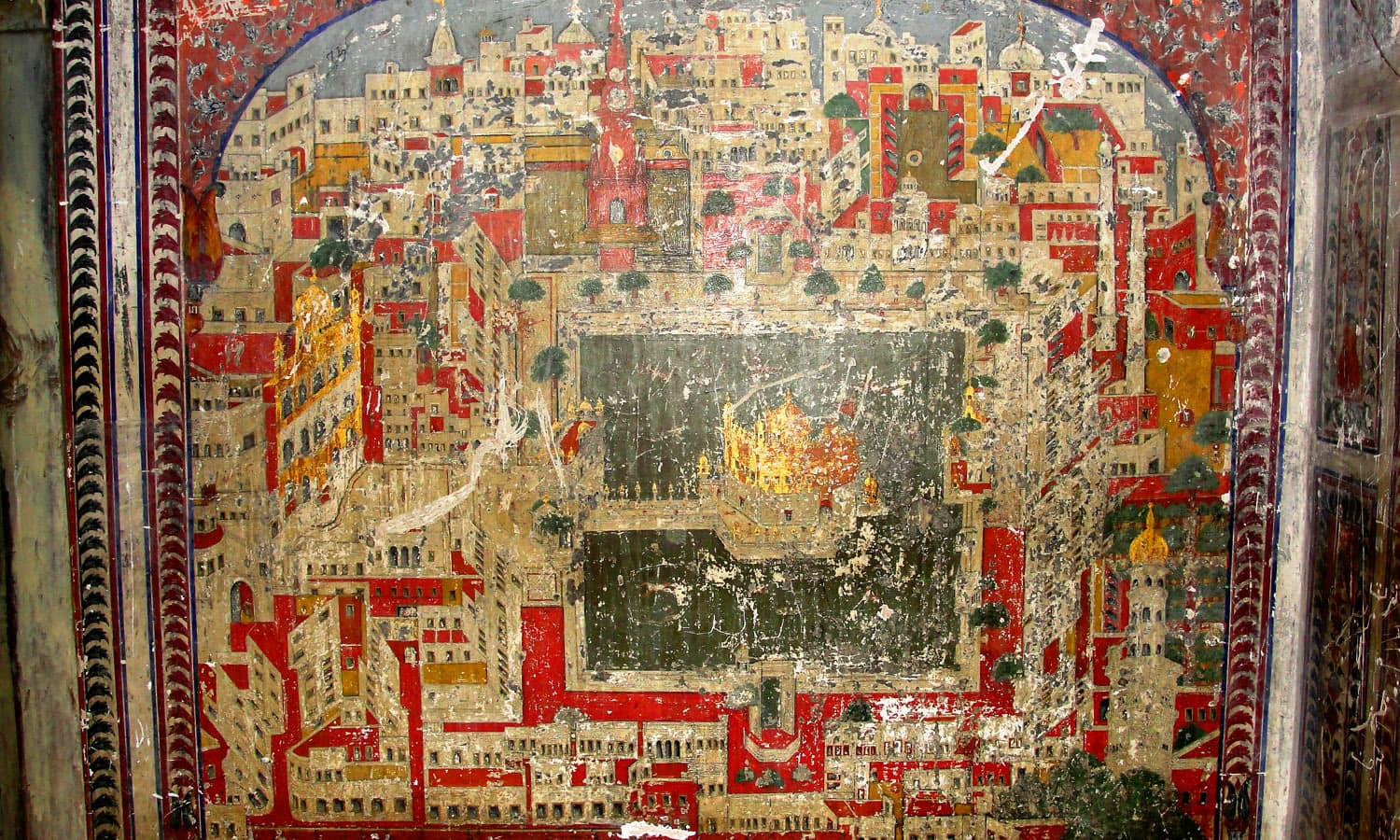 A depiction of the Golden Temple of Amritsar in Khem Singh Bedi Haveli.