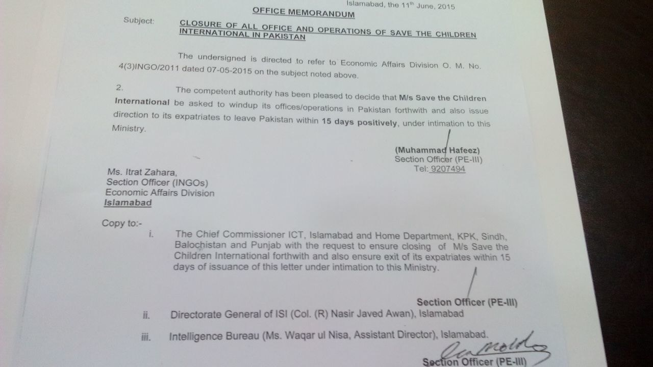 The official memorandum issued to Save the Children to pack up its operations in Pakistan.