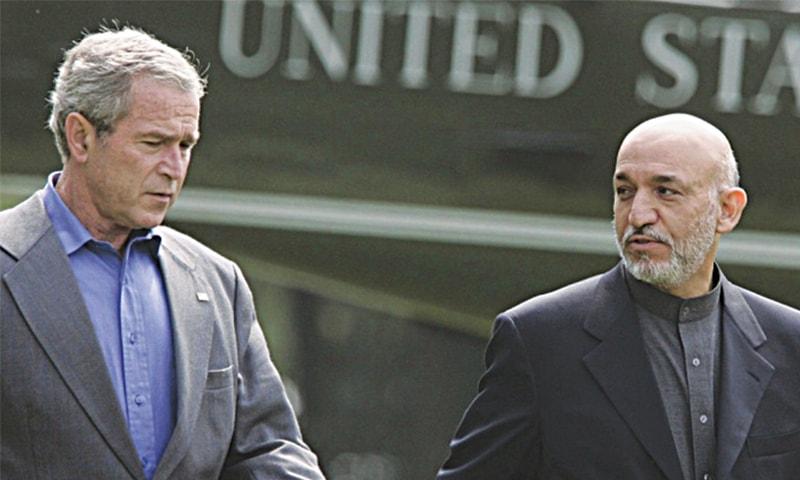 George W. Bush and Hamid Karzai at Camp David, Maryland, in 2007.