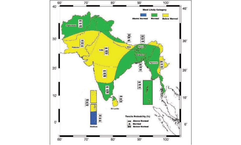 THIS map, released by the SASCOF, shows that except the northern parts of the country, most of Pakistan will see below normal rainfall this year.