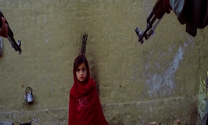 The emotional four-minute video opens with a re-enacted scene where a frightened child is surrounded by militants pointing weapons at her. ─ ISPR