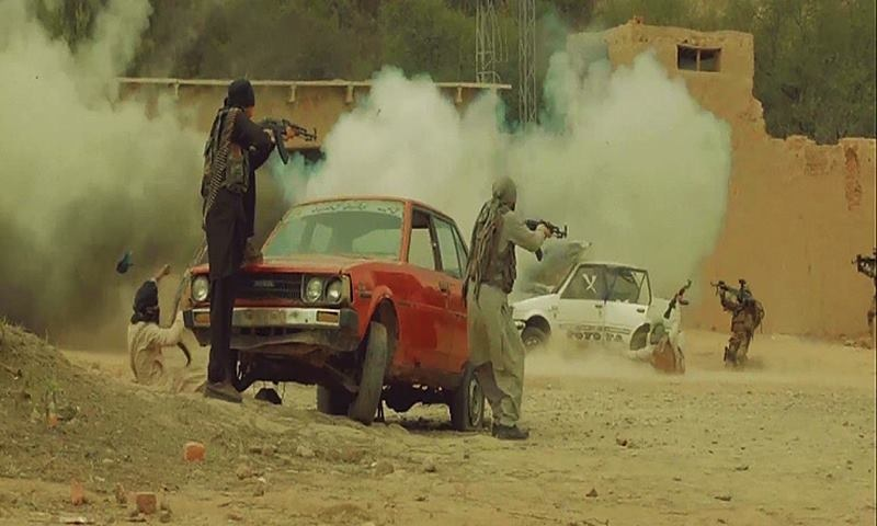 A car bomb goes off amidst an intense exchange of fire. ─ ISPR