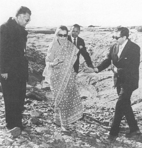 Prime Minister Indira Gandhi visits the test site in Pokhran, following India's successful nuclear detonation on May 18, 1974