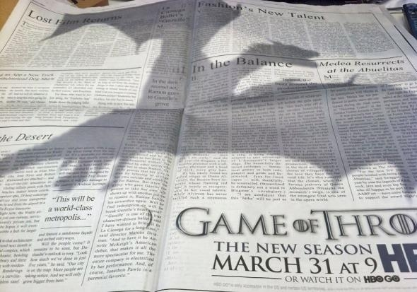 The full page ad published in The New York Times featured the shadow of one of Khaleesi's dragons. Photograph: Adweek.