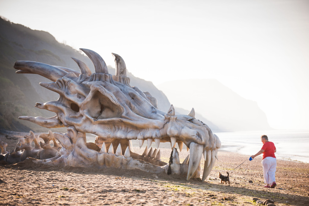 Blinkbox installed a giant dragon skull, measuring 40ft by 8ft, to mark the third season of Game of Thrones. Photograph: Blinkbox.