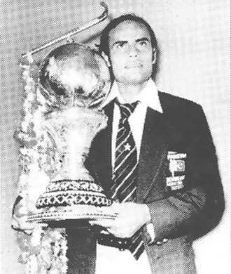 Pakistan hockey captain, Islahuddin, with the 1978 hockey World Cup. He is said to be the first prominent Pakistani hockey player to have performed the sajda (during the 1978 final).