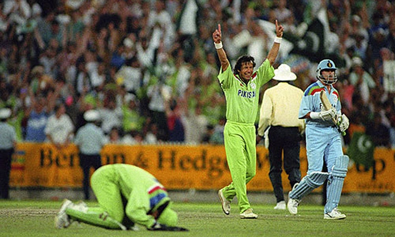 Pakistan wins the 1992 Cricket World Cup.