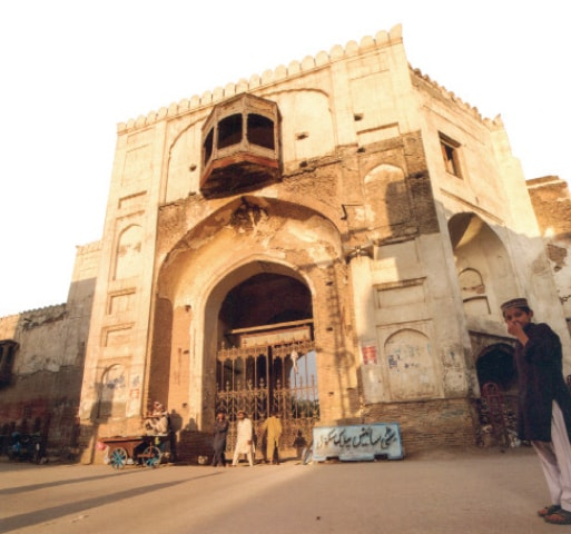 Outer facade of the western gate of Gor Khatri in Peshawar