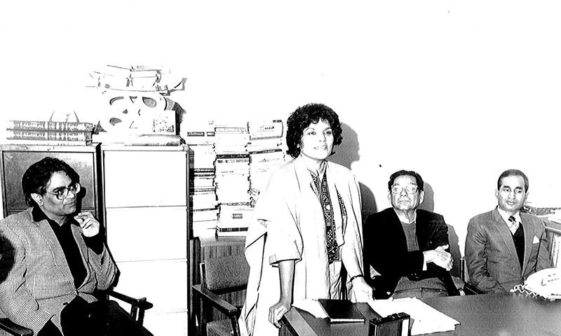 Kishwar Naheed speaking at Urdu Markaz, London, in 1983 along with Iftikhar Arif (left) and Minhaj Barna (far right)   Courtesy Kishwar Naheed