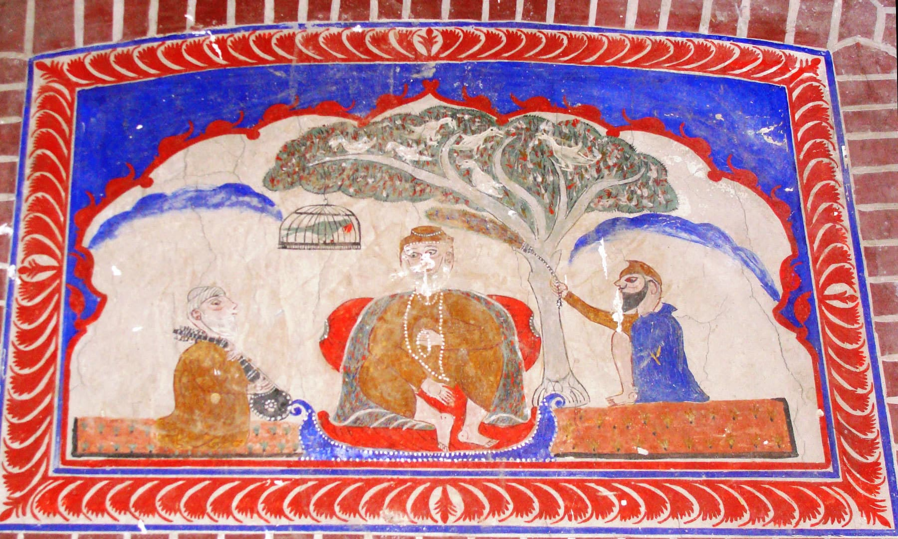 Depiction of Baba Guru Nanak with Bhai Bala and Mardana.