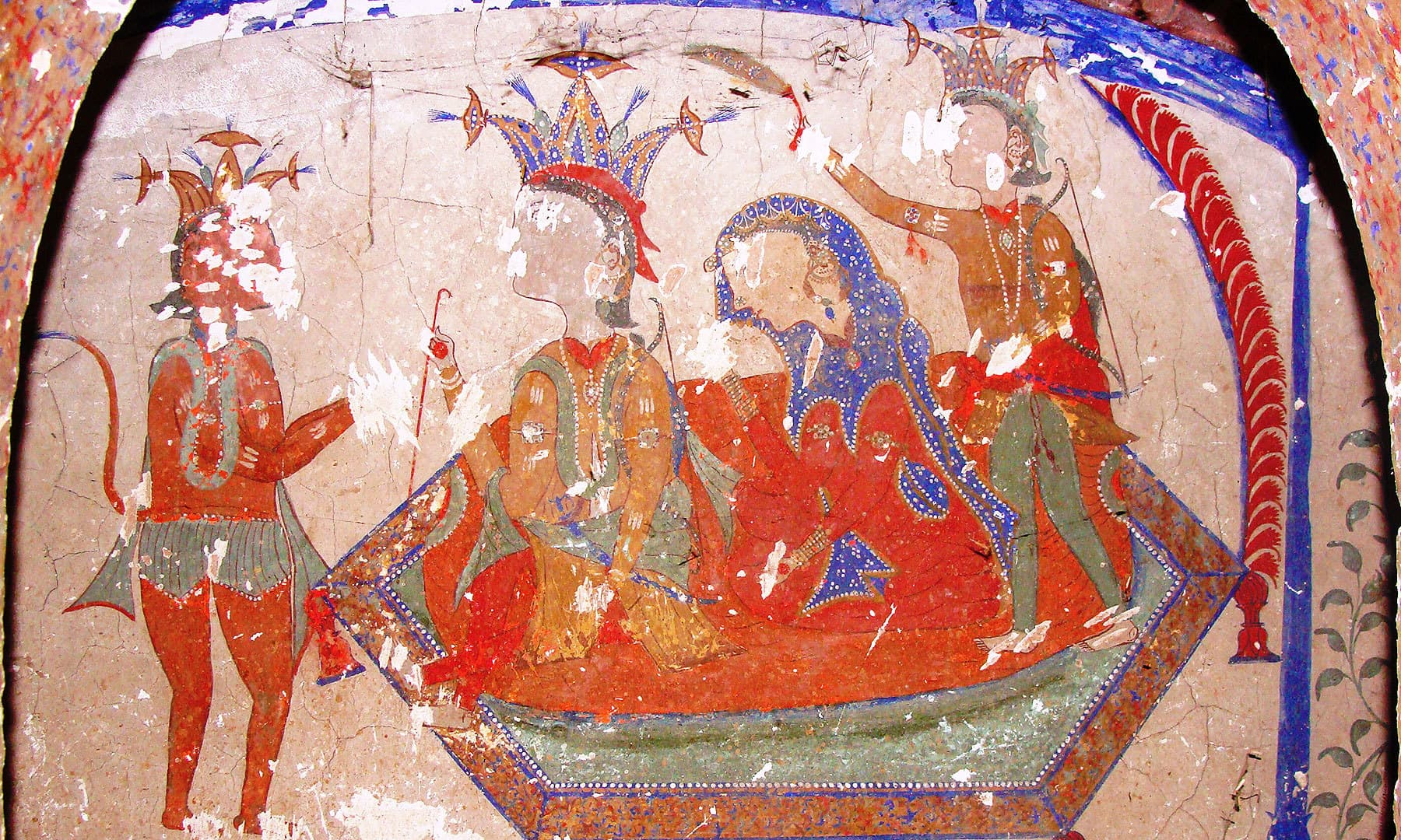 Paintings of Rama and Sita with Hanuman in a Sikh samadhi.