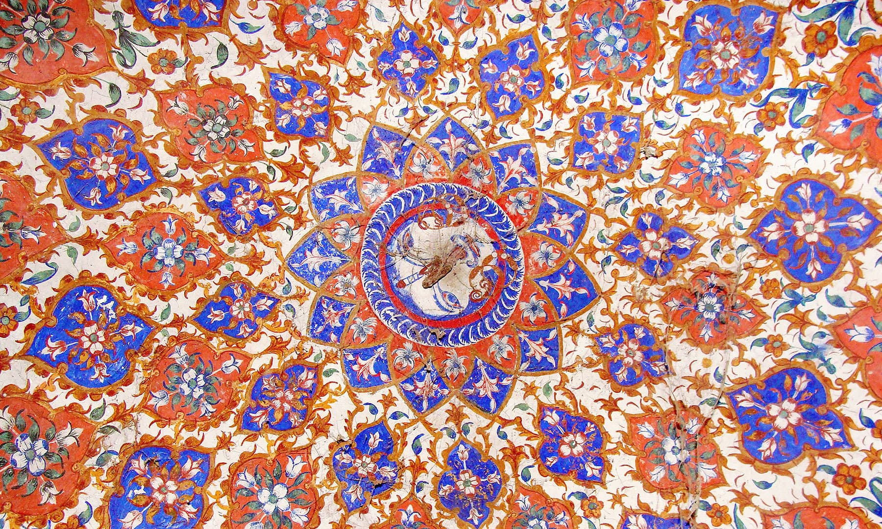 Floral painting in a Sikh samadhi.