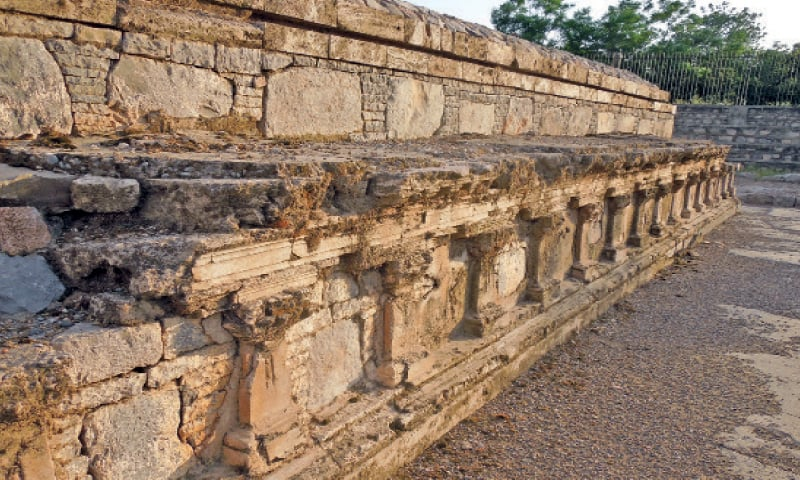 The base of the stupa at Jinnan Wali Dheri. — Photos by the writer