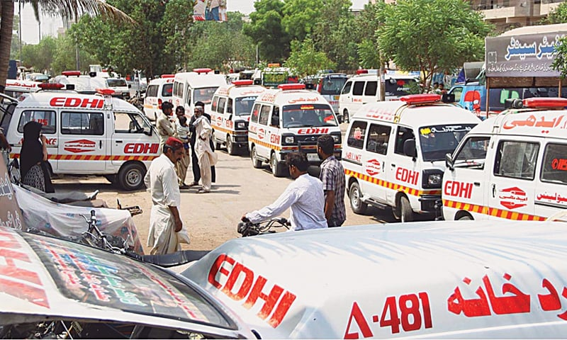 Ambulances bringing bodies of people who died because of heatstroke and dehydration pictured outside the Edhi morgue in Karachi on Sunday.—Online