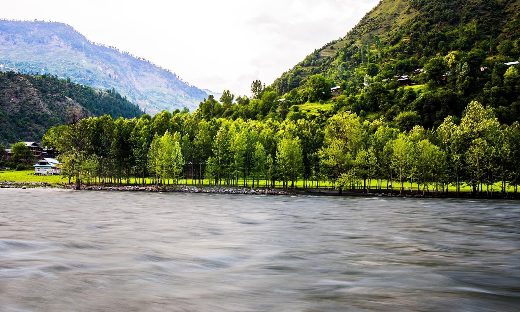 At the banks of the Neelum River in Keran. —Marvi Soomro