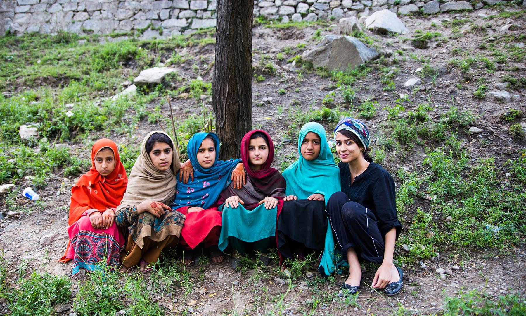 With the local schoolgirls. —Marvi Soomro