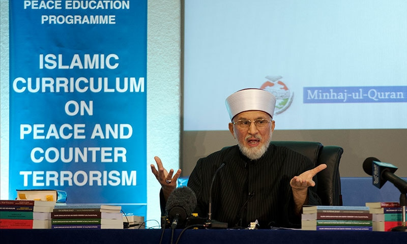 Tahirul Qadri, the founder of the Minhajul Quran International organisation, delivers a keynote speech at the launch of the Islamic Curriculum on Peace and Counter Terrorism in London, Tuesday, June 23, 2015. —AP
