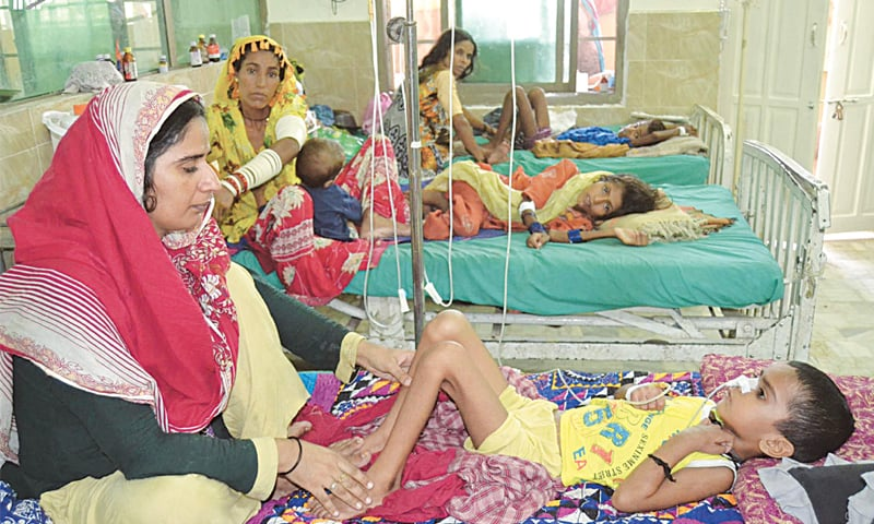 HYDERABAD: Children affected by heatwave being treated at the Civil Hospital on Tuesday.—INP