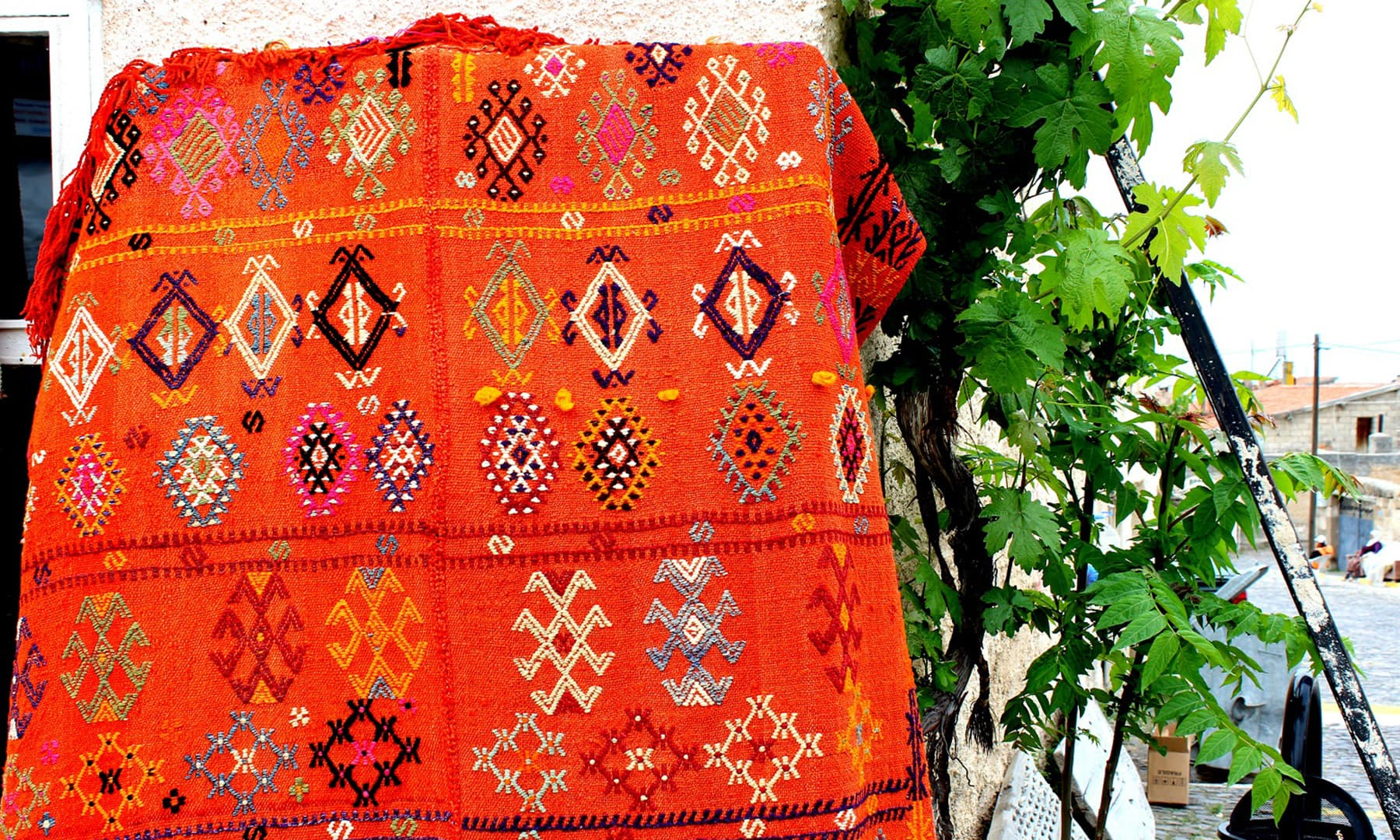 Rugs sold on the roadside.