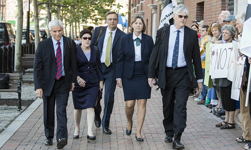 The defence team for Boston Marathon Bomber Dzhokar Tsarnaev, David Bruck, from left, Miriam Conrad, William Fick, Judy Clarke and Timothy G. Watkins arrive at John Joseph Moakley United States Courthouse for the official sentencing of Boston Marathon Bomber Dzhokar Tsarnaev on June 24, 2015 in Boston, Massachusetts. —AFP