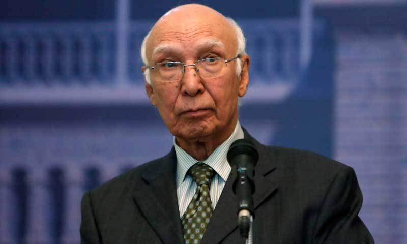 """""""Pakistan is ready to play any possible role in the reopening of dialogue between Afghan Taliban and the Afghan government where ever it is being planned,"""" says Adviser on Foreign Affairs and National Security Sartaj Aziz. — Reuters/File"""