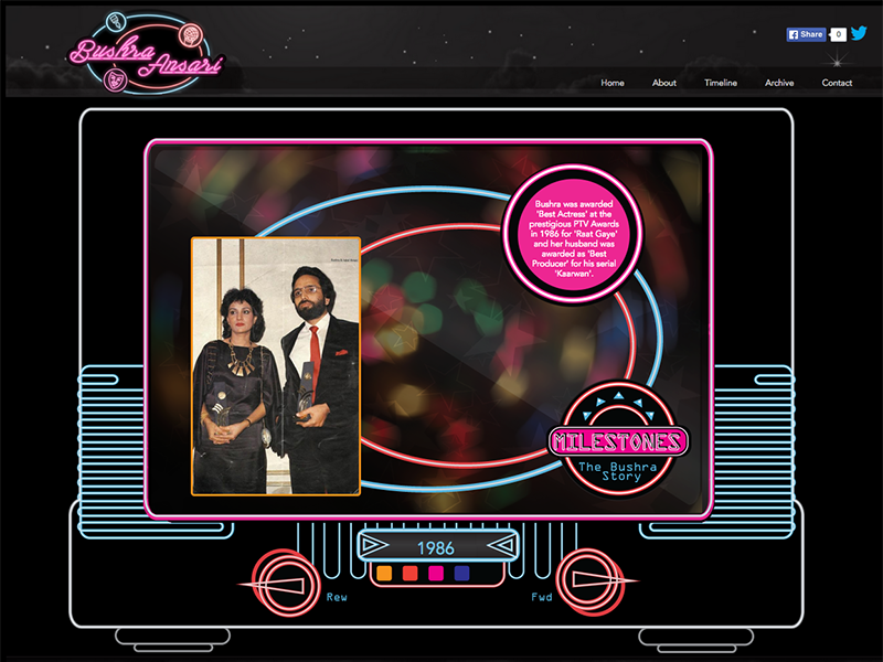 Bushra with her husband Iqbal Ansari at the PTV Awards in 1986 - key moments of her life and career are encapsulated on the interactive timeline — Screengrab from bushraansari.com