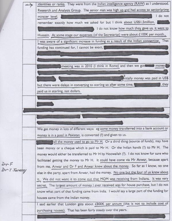 Page 3 of statement allegedly given by MQM leader to London police.