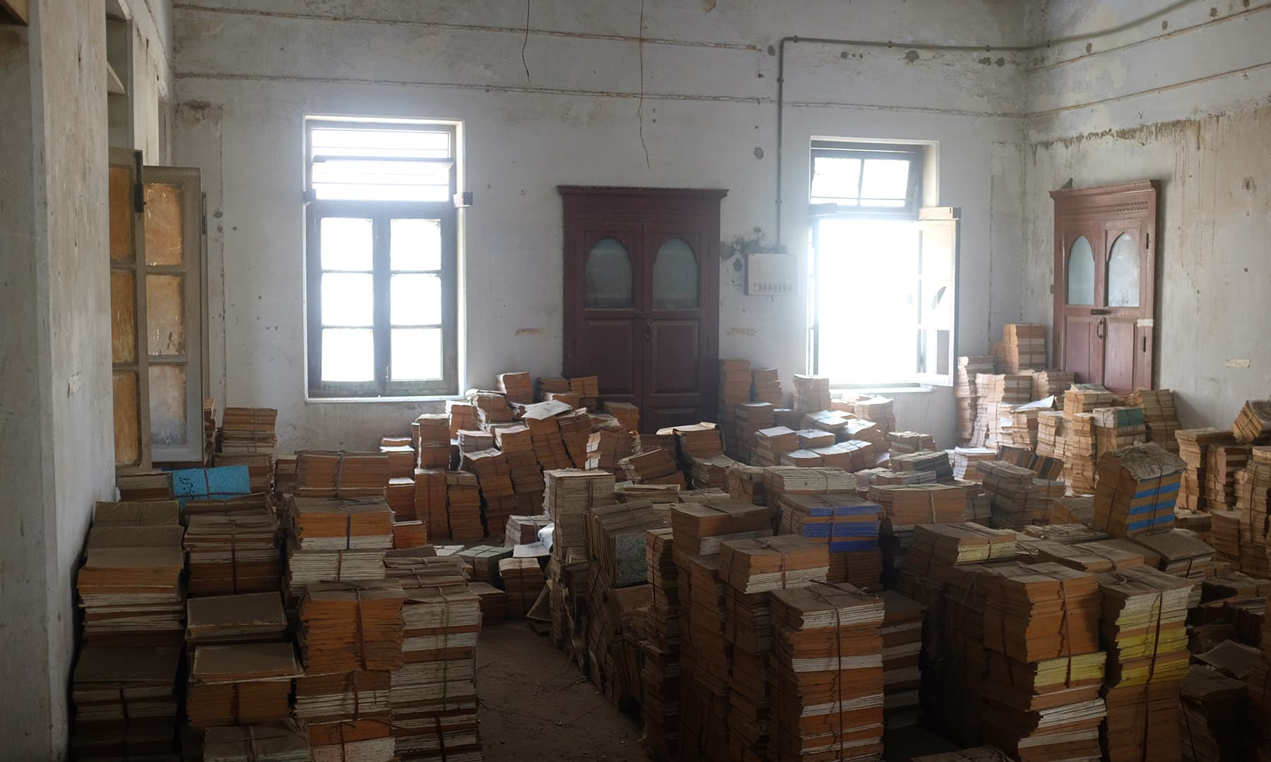 Second floor book storage.