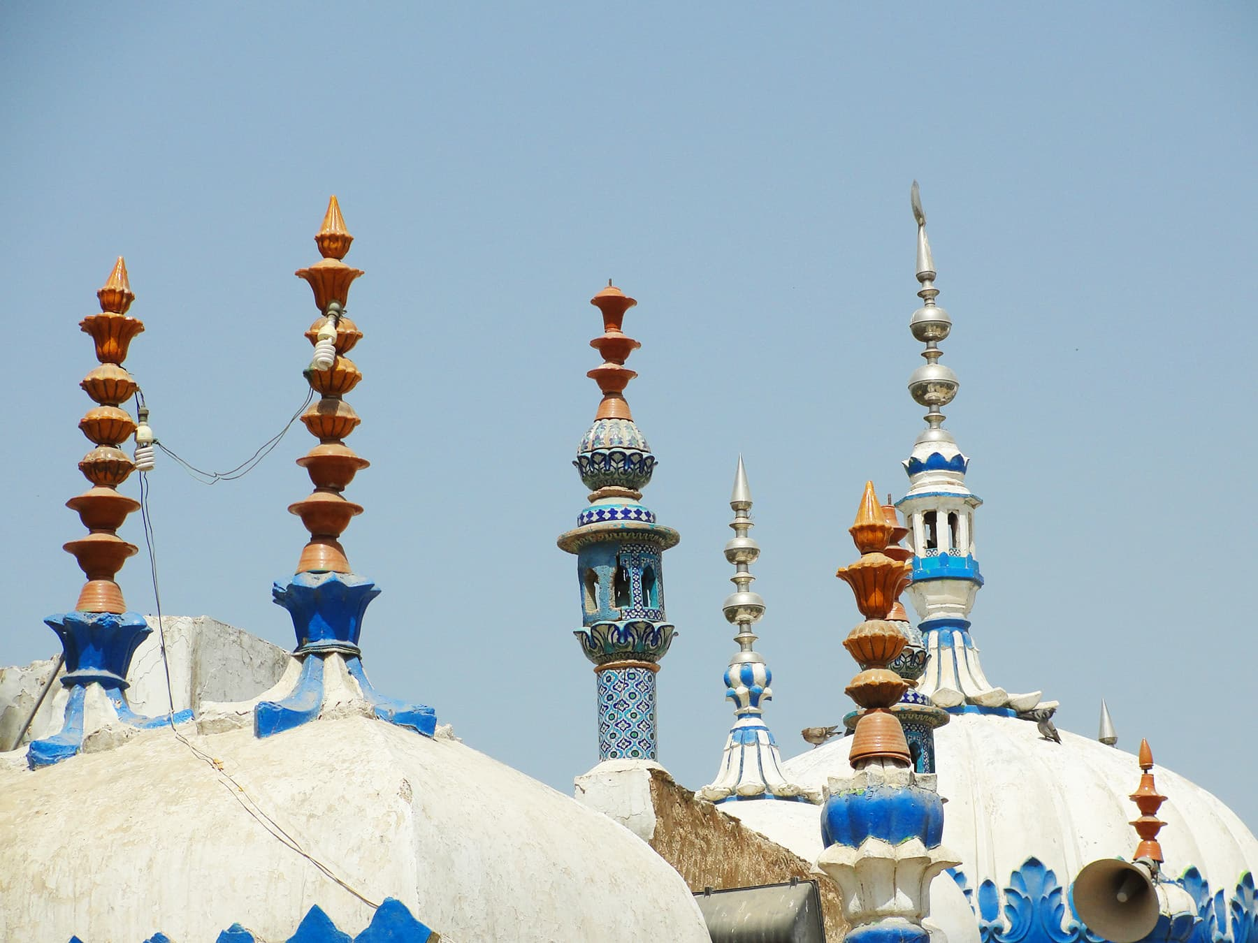 Spires on the domes.