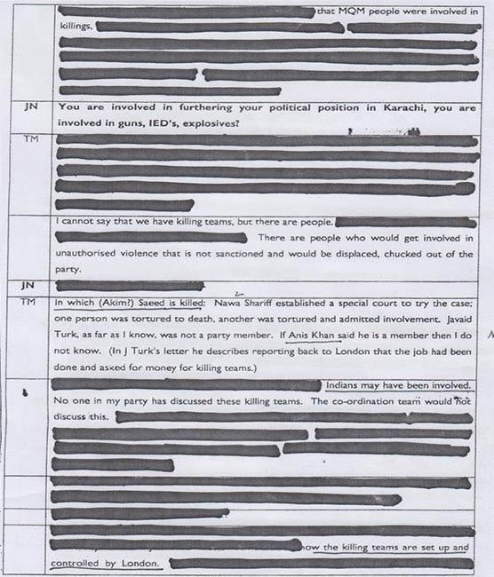 Page 6 of statement allegedly given by MQM leader to London police.