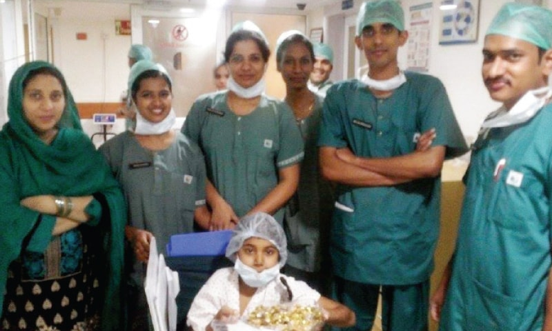 Nalain Rubab Imran accompanied by doctors and nurses at the Apollo Hospital in New Delhi. — Photo by the writer