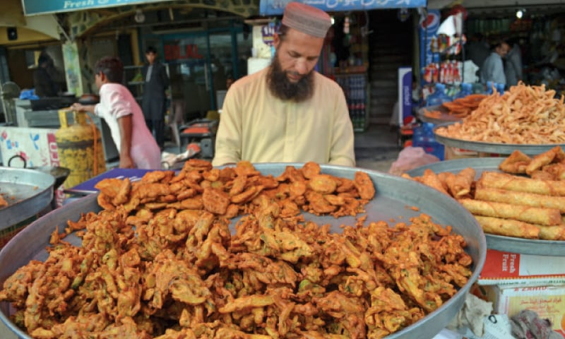 Pakoras are a must in almost every household during Iftar time. — Photos by the writer