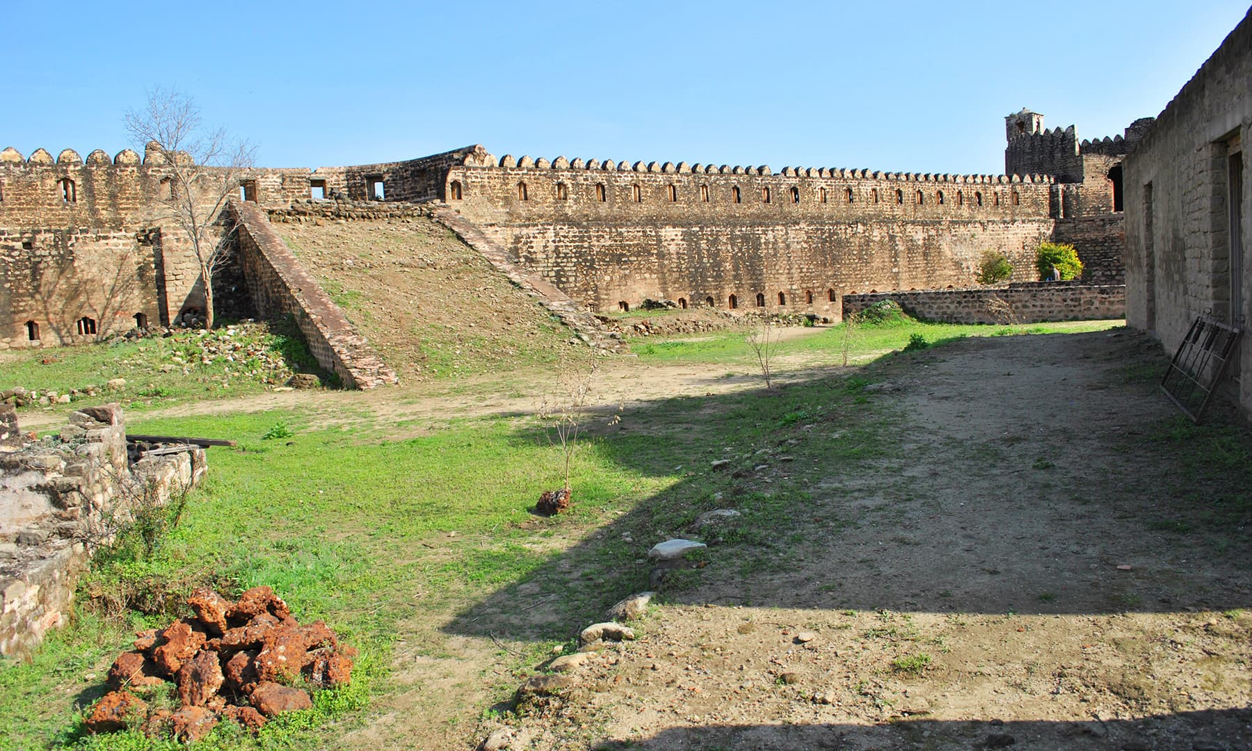 The ramps and crenellations for cannons are alterations of the time when Dogra of Kashmir held this fort in 19th century.