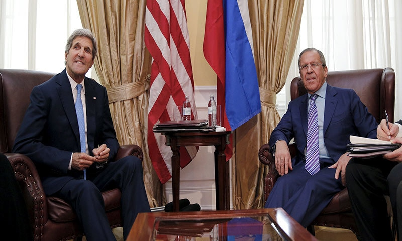 US Secretary of State John Kerry (L) meets with Russian Foreign Minister Sergey Lavrov at a hotel in Vienna, Austria June 30, 2015.– Reuters