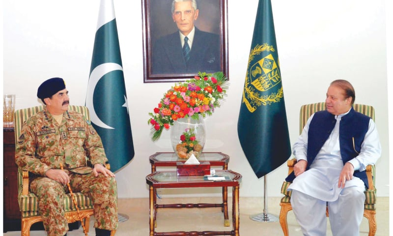 ISLAMABAD: Prime Minister Nawaz Sharif and the Chief of Army Staff, Gen Raheel Sharif, meeting at the PM House on Tuesday.—PPI
