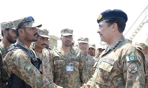 """We will not stop unless we achieve our end objective of a terror-free Pakistan,"" General sharif remarked while addressing troops at North Waziristan agency today.– Photo: ISPR"