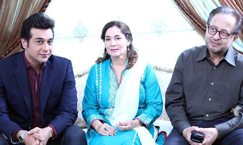 Faysal Qureshi relaxes off-camera with his on-screen parents, Nadeem and Ismat Zaidi — Publicity photo
