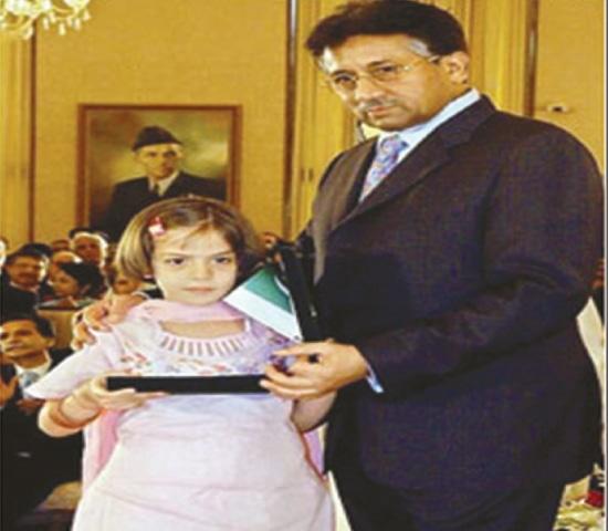 President Gen Prervez Musharraf conferring the award of Sitara-e-Eisaar on Turkish girl Erva Yalcin / File photo