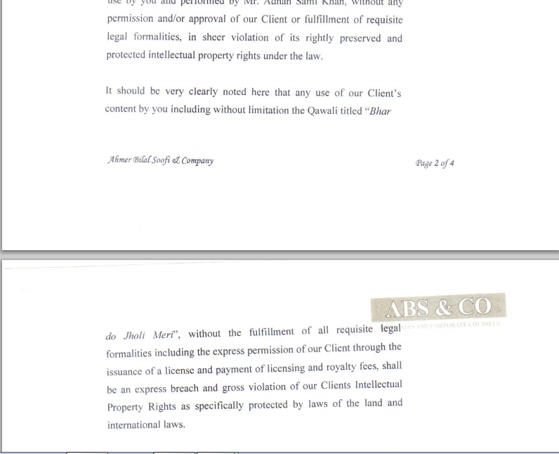 An excerpt of the legal notice issued by EMI Pakistan — Courtesy: EMI