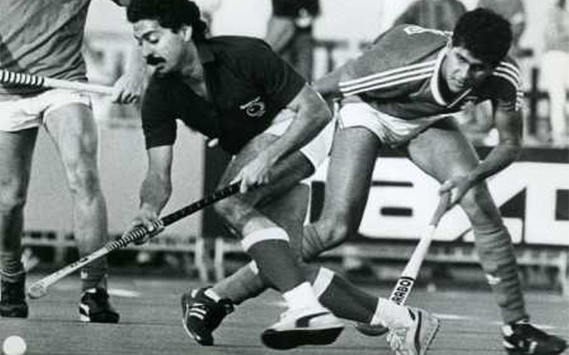 Hassan Sardar dribbling past a Russian player during the 1986 World Cup in England. His team went down in a heap in the tournament.