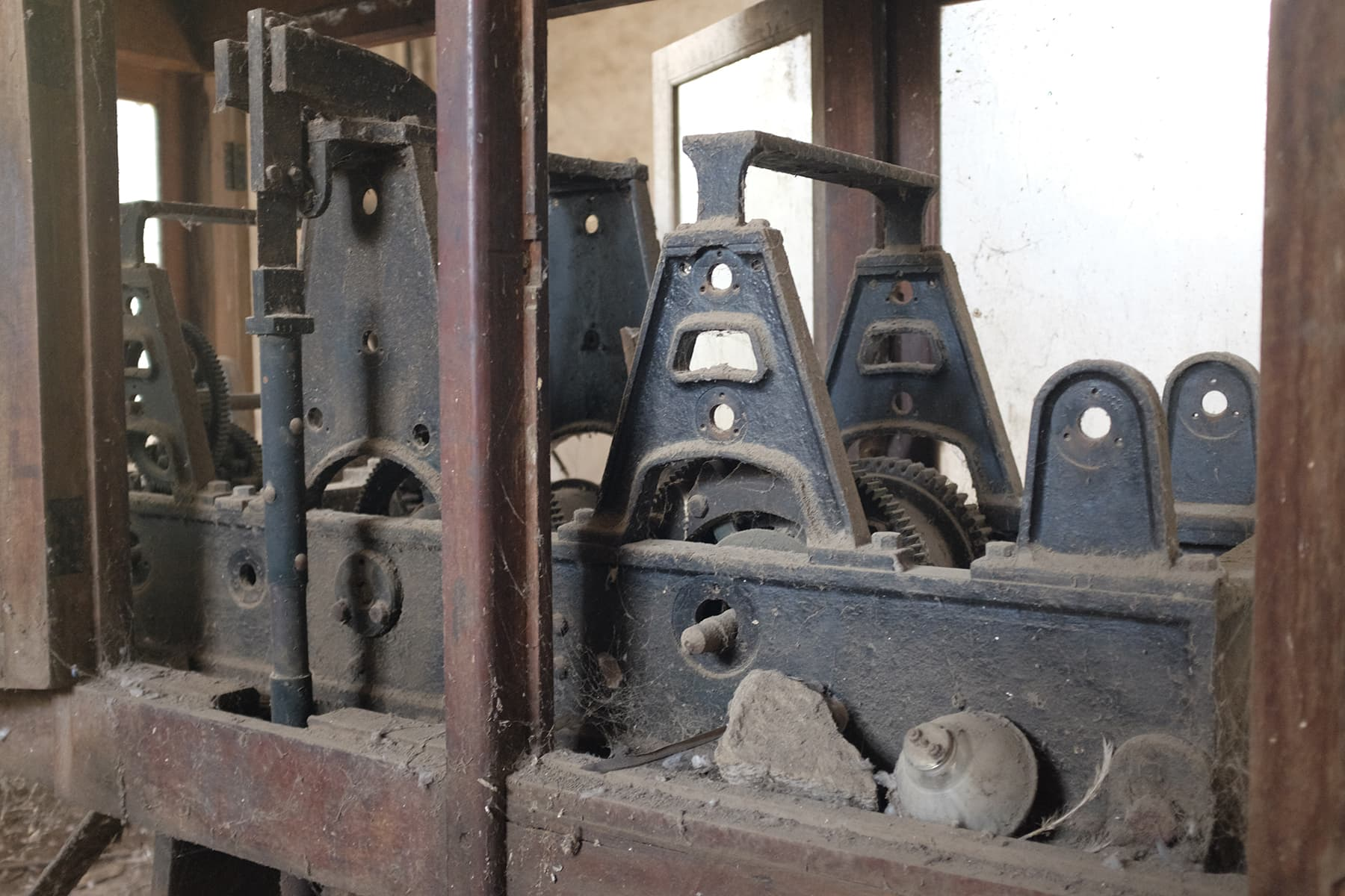 The machinery inside the clock tower compound.