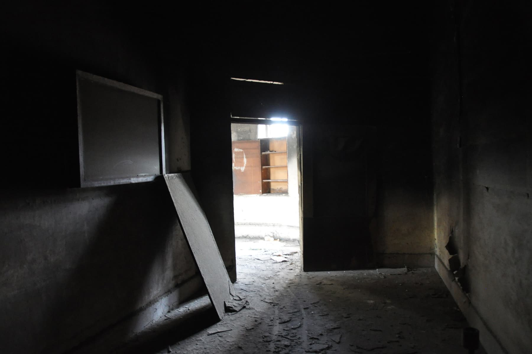 View of a burnt room on first floor.