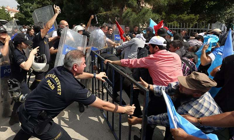 Temporary closure in Istanbul comes after anti-Chinese demonstrators stormed the embassy, causing damage. —AP/File
